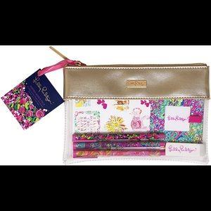 Lilly Pulitzer Agenda Bonus Pack BNWT gold pouch
